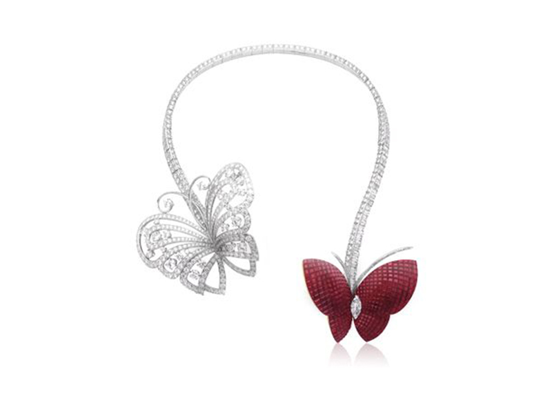 Van Cleef & Arpels Envol Butterfly Necklace with diamonds and rubies