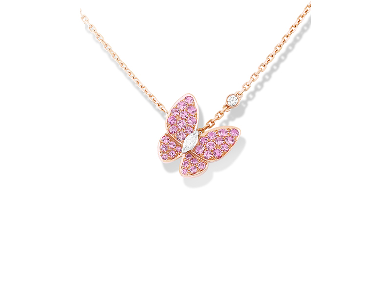 Van Cleef & Arpels Two butterfly pendant mounted on rose gold with round pink sapphires and round and marquise-cut diamond