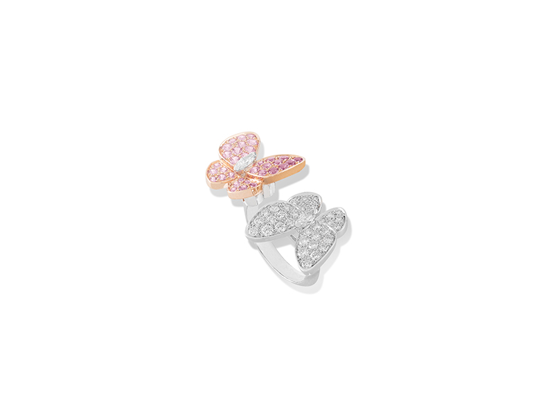 Van Cleef & Arpels Two butterfly collection  ring mounted on pink & white gold with round pink sapphires and marquise cut diamonds