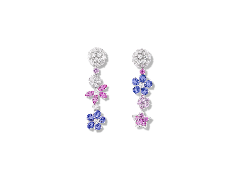 Van Cleef and Arpels Folie des prés earrings mounted on white gold with round marquise cut pink sapphires, pear shaped mauve sapphires & rounds diamonds