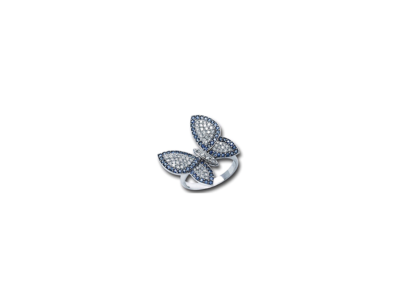 Vasav Butterfly ring with diamonds and sapphires