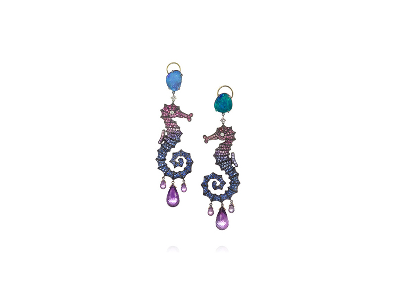 Lydia Courteille Abysse earrings mounted on 18k blackened white gold with colored stones - 24'574Euros