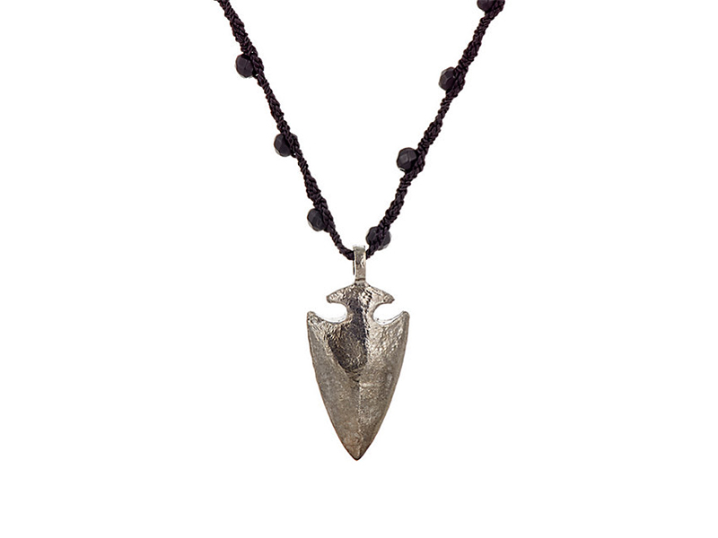 Feathered Soul Arrow head pendant on silk cord - 340 $