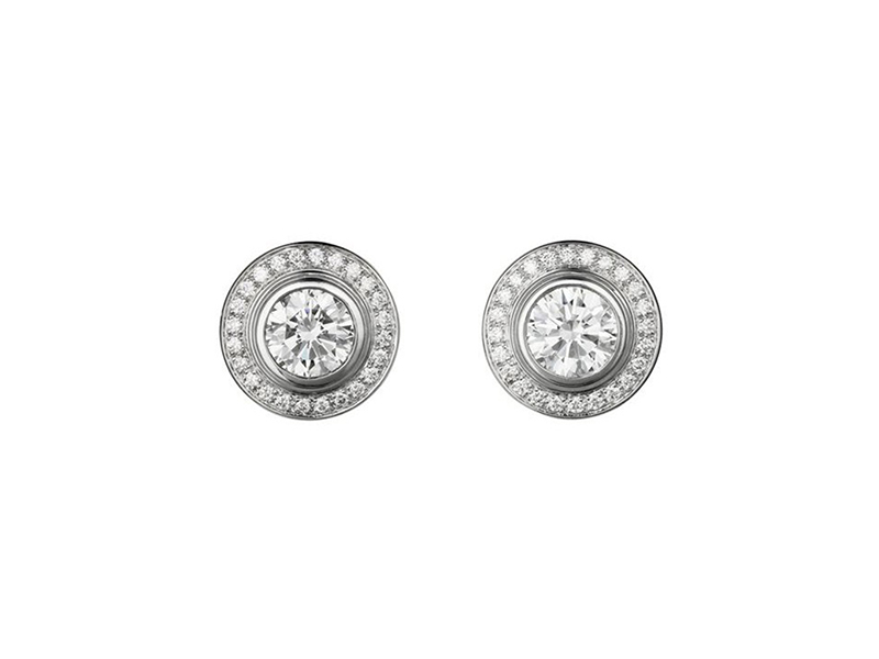 Cartier D'amour Earrings 18K white gold, each set with a brilliant-cut diamond available in 0.18-0.22 and 0.50-0.59 carat and brilliant-cut pave diamonds.