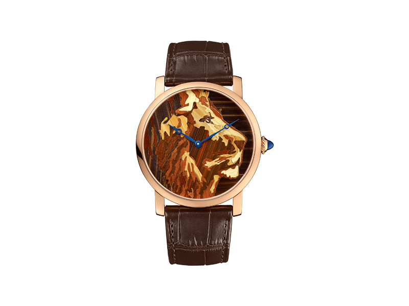 Cartier Lion  wood marquetry watch