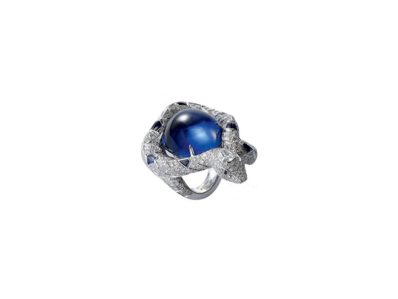 Cartier White Gold Diamond and Star Sapphire Snake Ring
