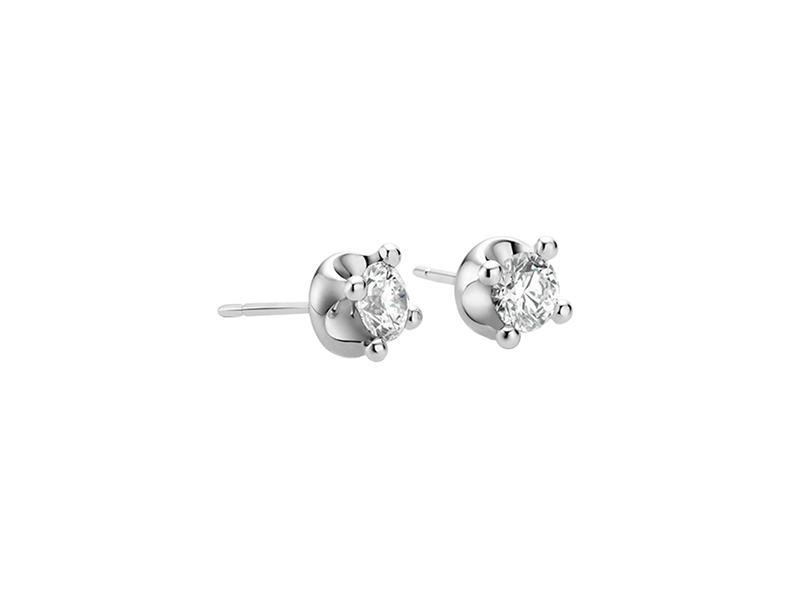 Bulgari Corona Earrings 18k white gold earrings with round brilliant cut diamonds