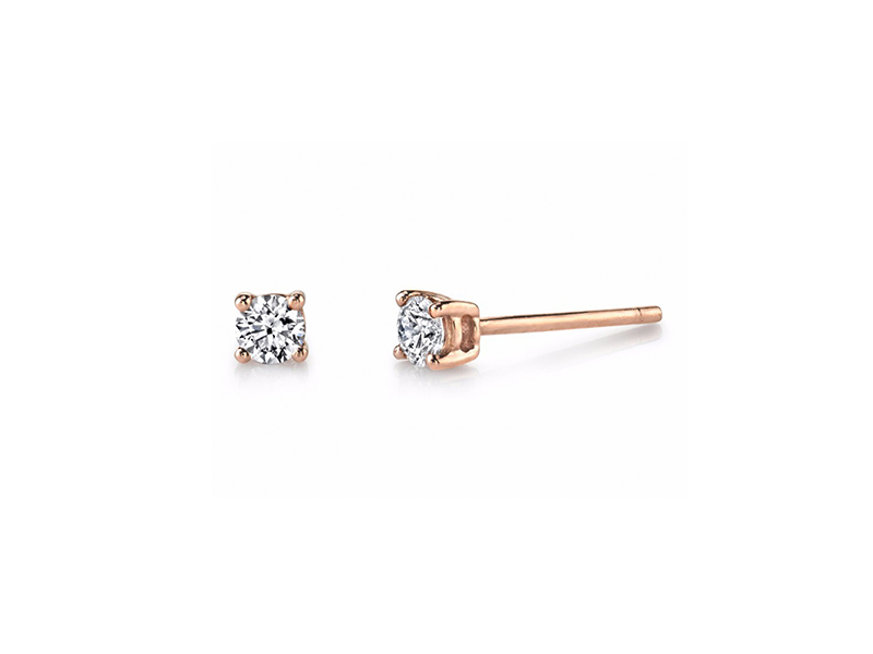 Anita Ko Diamond Stud Earrings Mounted on rose gold with white diamonds