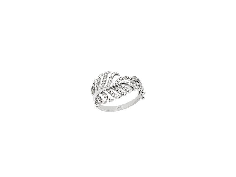 Djula Leaf gold and diamonds ring jewelry