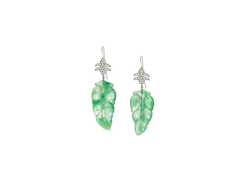 Garnazelle Jade leaf earrings