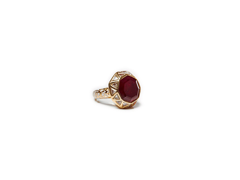 Jade Jagger Ruby & Diamond Octagon Ring