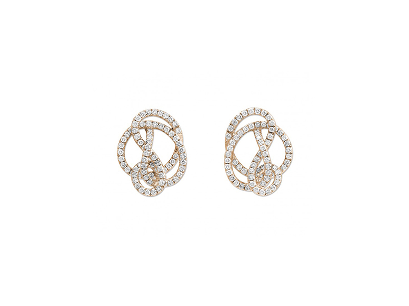 Lorenz Baumer Pense À Moi Studs Mounted on rose gold with white diamonds.