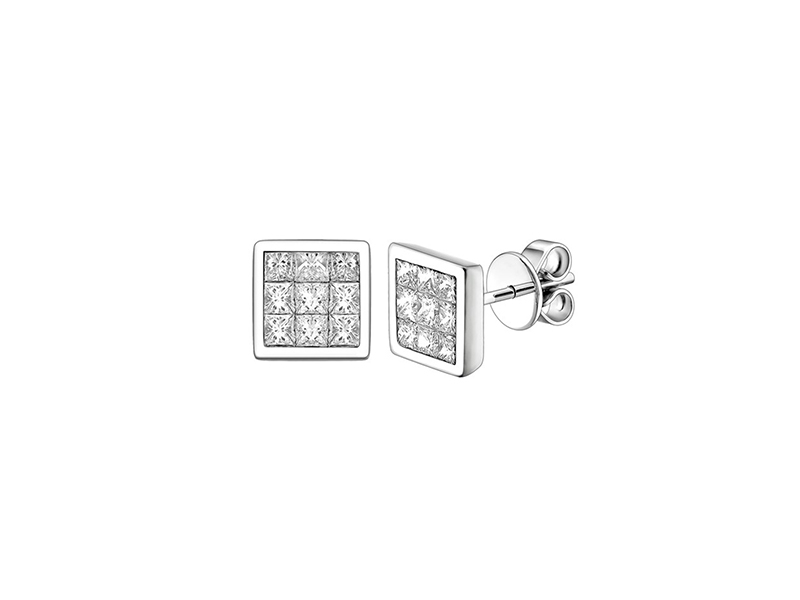 Peter Lam Quad Earrings Mounted on white gold with diamonds.