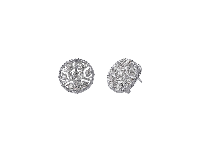 Buccellati Ramage Button Earrings Mounted on white gold set with diamonds and leaf-modeled white gold borders.