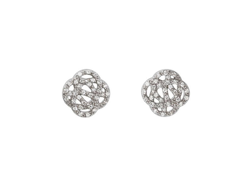 Sophie M Dessine Moi L'Infini Earrings Mounted on grey gold with white diamonds