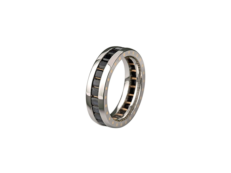 Stephenein Horn geo elipse eternity ring white gold and black sapphires 4145£