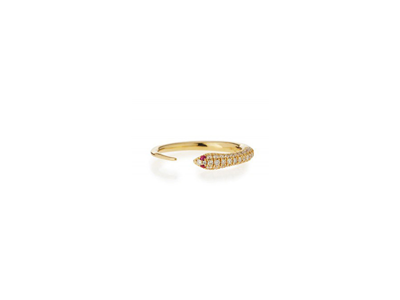Sydney Evan Pave Diamond Skinny Snake Ring