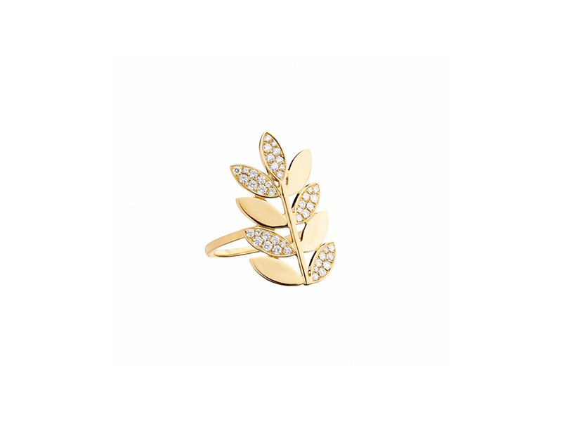 Alexandra Darier Yellow gold diamonds leaf ring