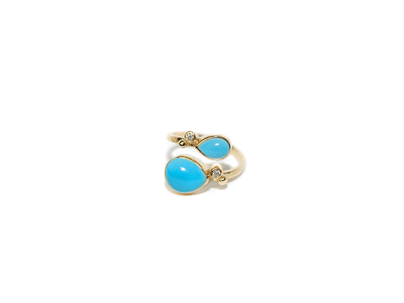 Anzie Classique coralia twist ring mounted on yellow gold with turquoise and two diamonds 1450 $