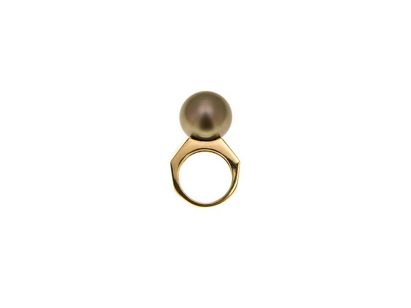 Belmacz Desdemona brown tahitian pearl yellow gold ring pearl