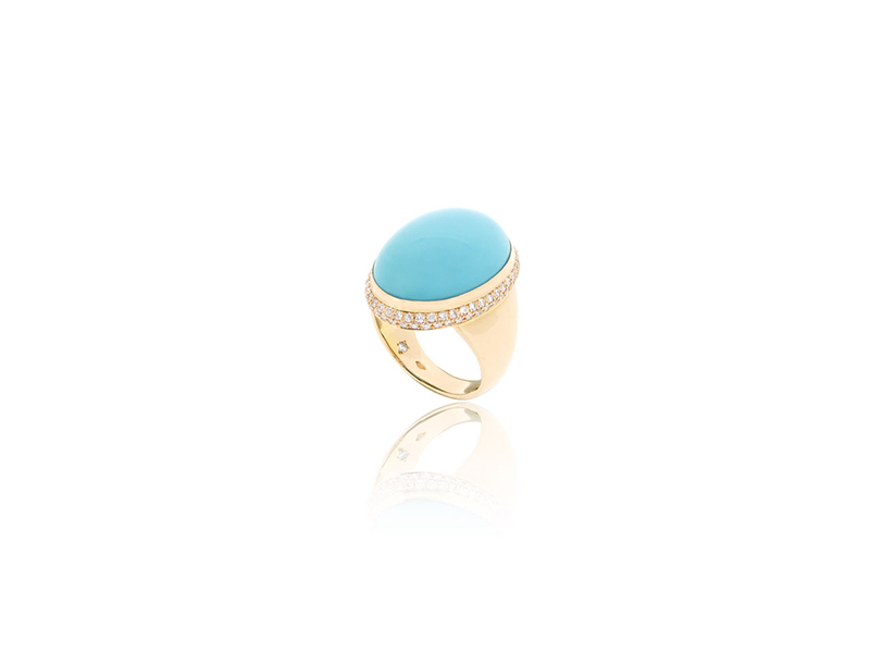 Bengems Ring mounted on rose gold with turquoise cabochon and 90 diamonds