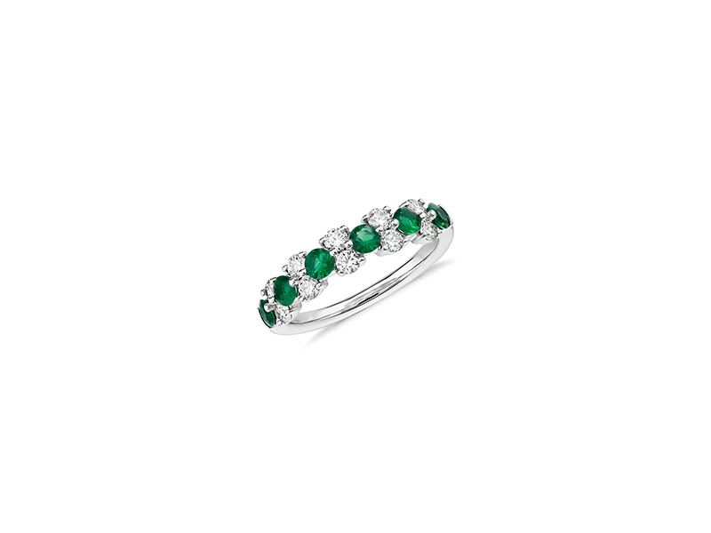 Blue Nile Emerald and diamond garland ring mounted on white gold 1510 £