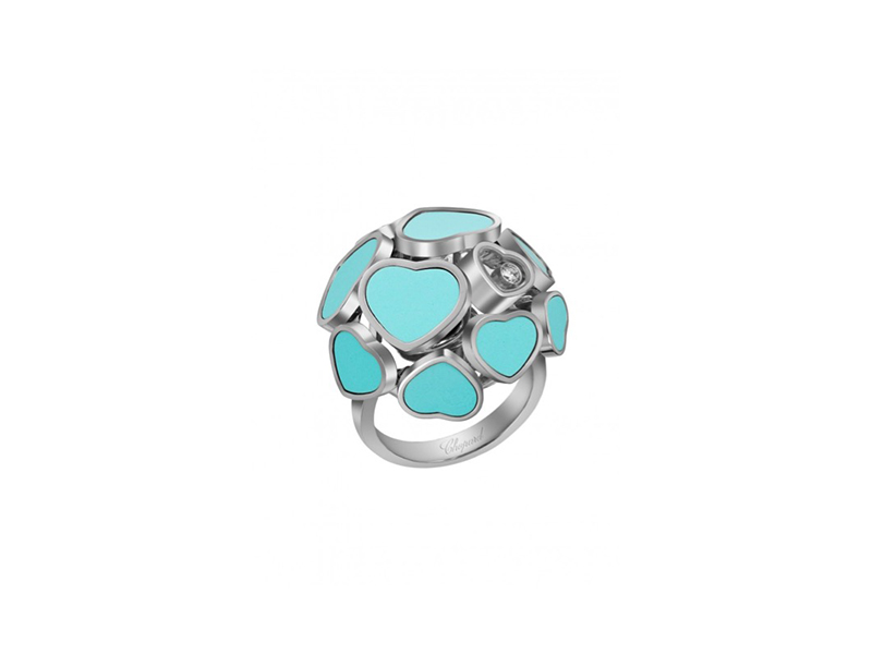 Chopard Happy hearts ring mounted on white gold with diamond reconstructed turquoise 5960 €