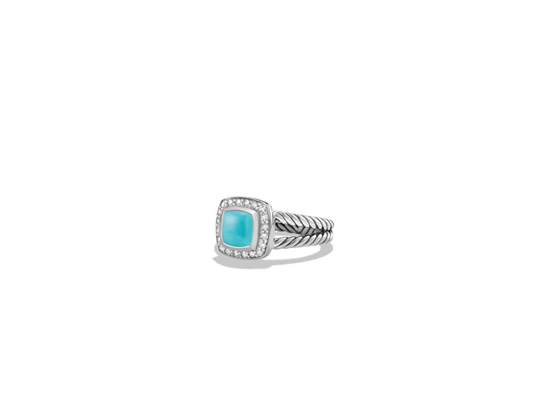 David Yurman Petite albion ring with turquoise and diamonds mounted on sterling silver