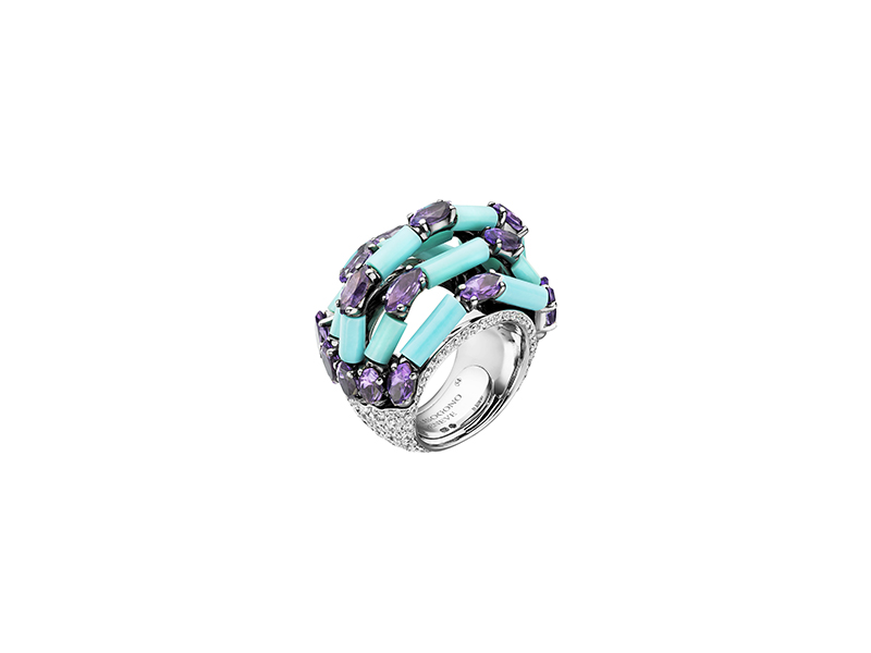 De Grisogono From melody of colours collection ring mounted on white gold with marquise cut amethyst turquoise and white diamond