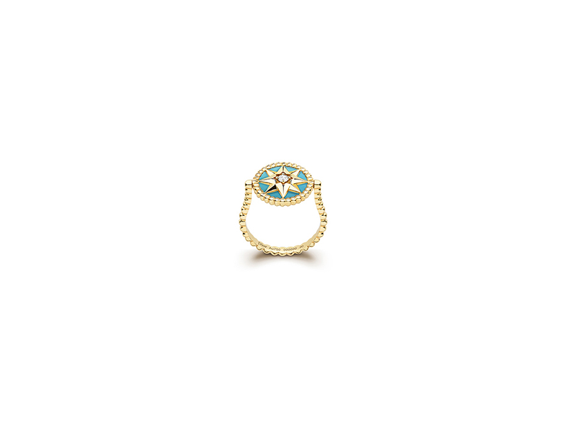 Dior Rose des vents ring mounted on yellow gold with diamond and turquoise 3000 €