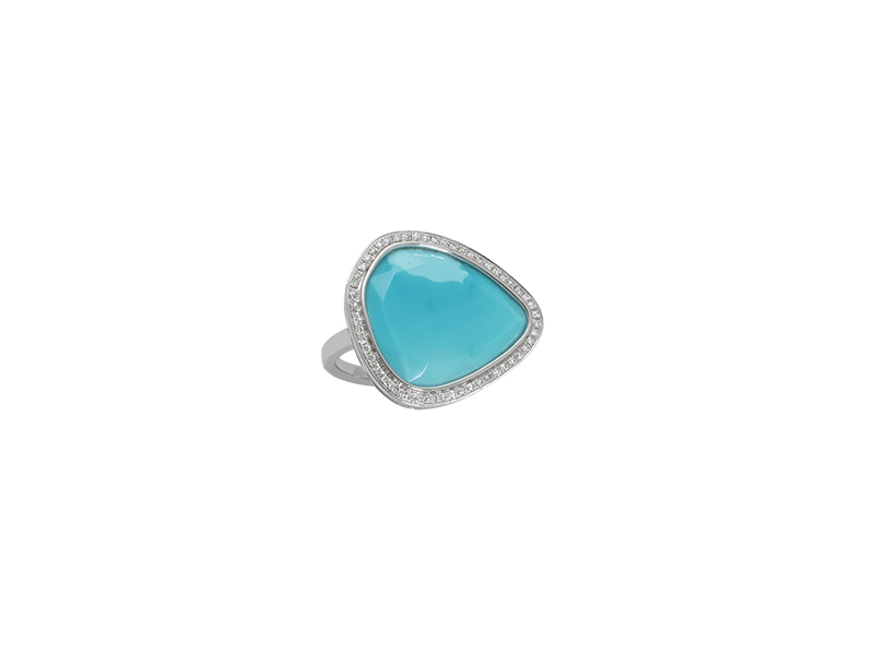 Djula Turquoise ring mounted on white gold with diamonds 1895 €
