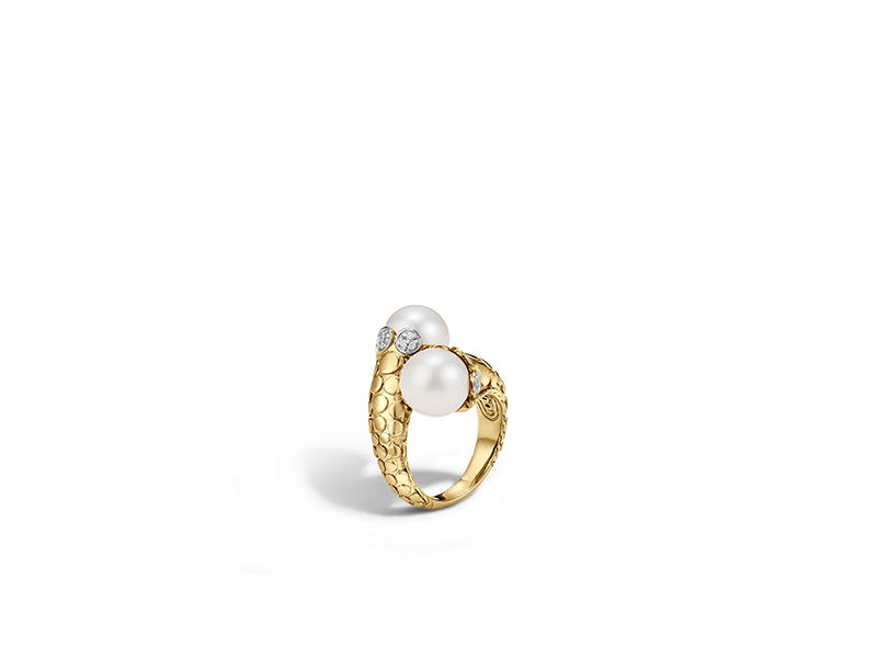 John Hardy Dot toi moi ring yellow gold freshwater pearl and diamond