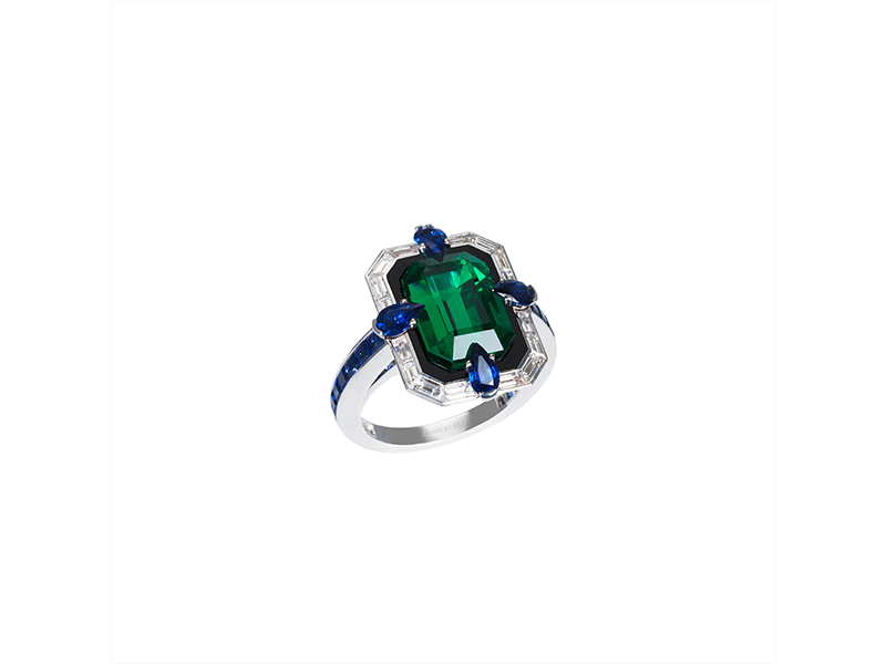John Rubel Liberty ring grey gold with diamonds sapphires onyx emerald