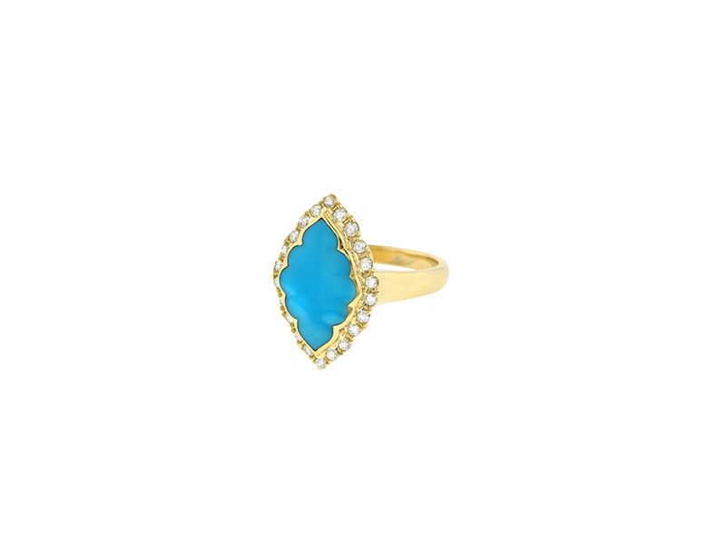 Kabana 14 kt yellow gold ring with turquoise and diamonds