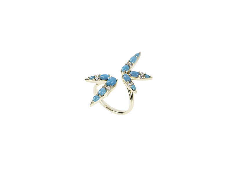 Nikos Koulis From Spectrum Collection ring mounted on yellow gold with turquoises