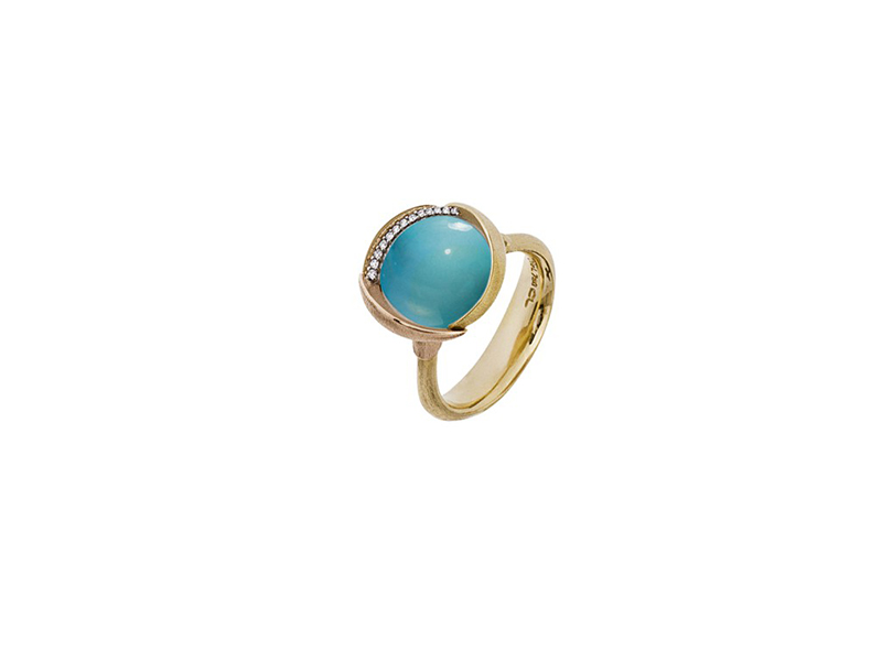Ole Lynggaard Lotus ring mounted on rose gold with turquoise and 13 diamonds 8500 chf