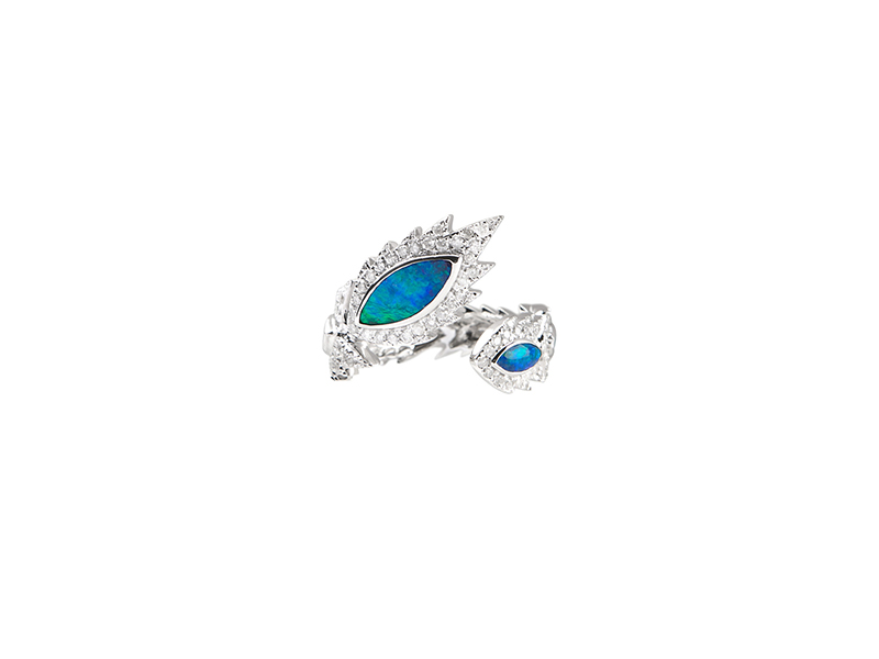 Aaron Jah Stone Phoenix ring mounted on white gold blue opal grey diamonds - 3'315 €