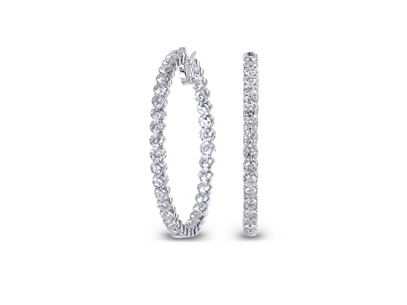 Jacob & Co Round diamond hoop earrings mounted on white gold set with 18.65 carats