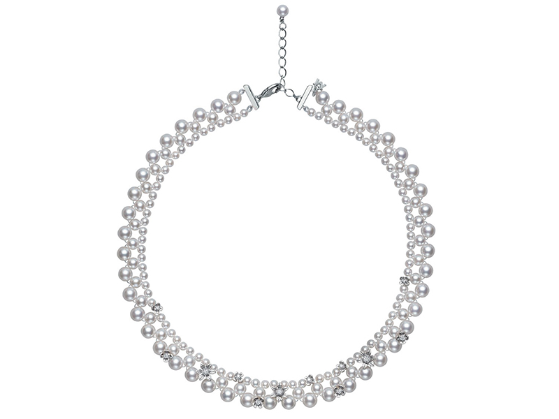 Mikimoto Flower lace necklace mounted on white gold with akoya pearls