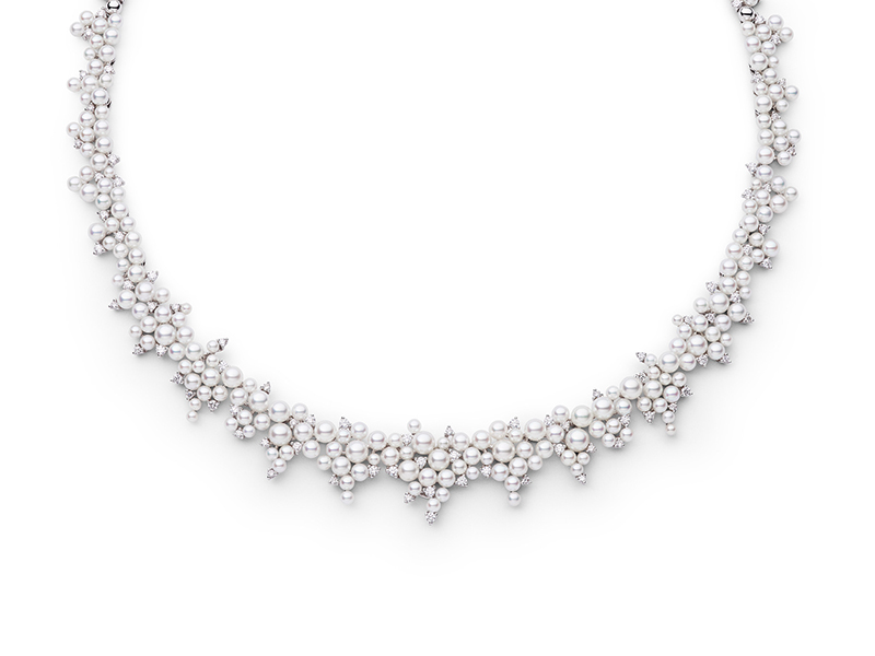Paul Morelli Cascading lagrange pearl & diamond necklace mounted on white gold with akoya pearls and diamonds 25'000 $