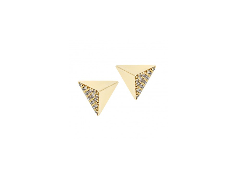 Ileana Makri 18k yellow gold pyramid studs with white diamonds