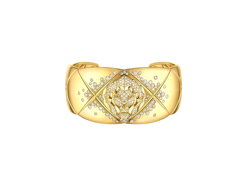 Chanel Coco Crush Lion cuff mounted on yellow gold with diamonds