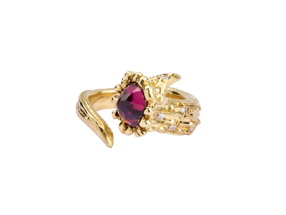 Aaron Jah Stone Dear Deer ring mounted on yellow gold with pink tourmaline and diamonds