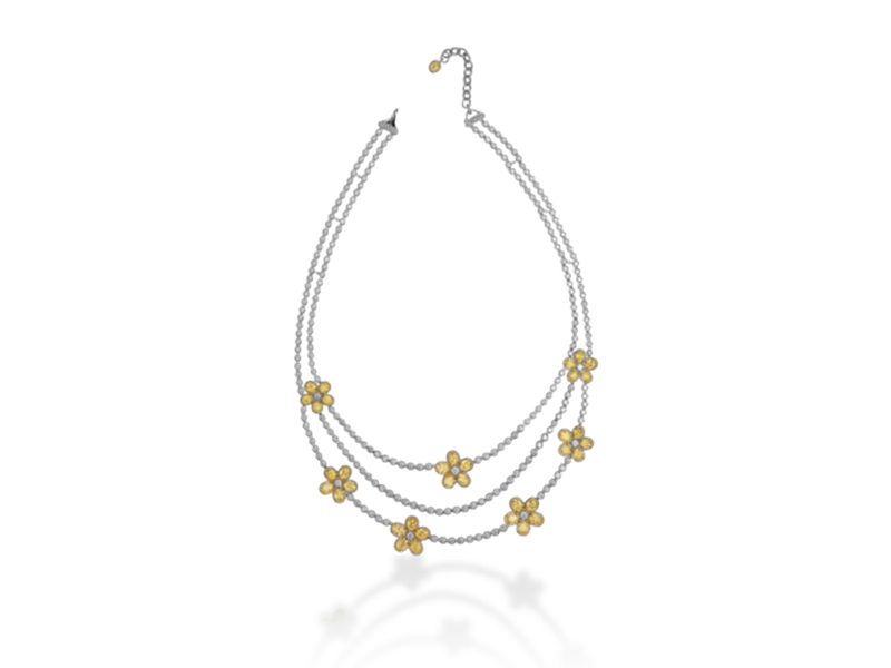 Adler Flora necklace mounted on white gold yellow gold and diamond