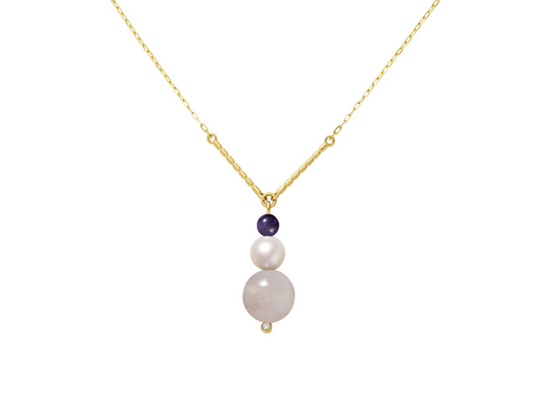 Aimee Aimer chance necklace yellow gold pearl amethyste rose quartz diamond 990 €