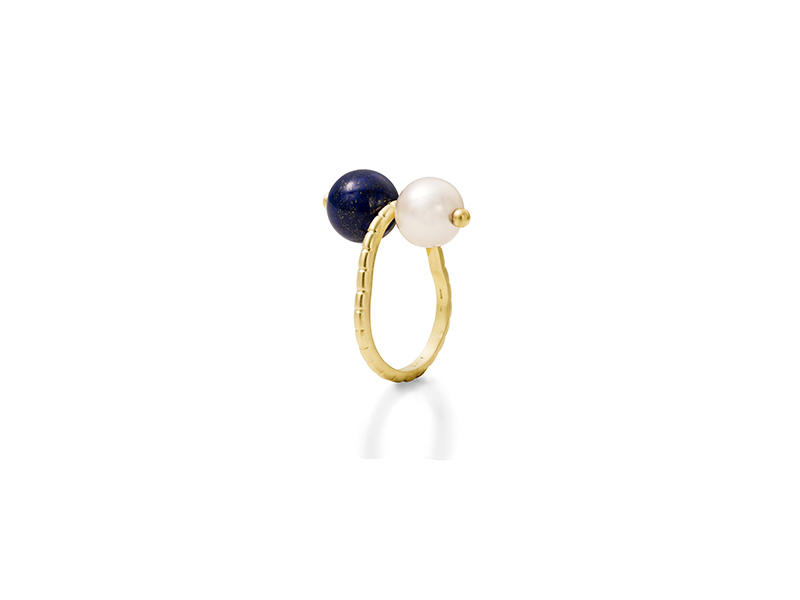 Aimee Aimer Chance ring in yellow gold with pearl and lapis lazuli 750€