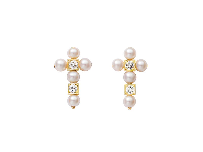 Aimee Aimer Earrings mounted on yellow gold pearls diamonds cross earrings 2350€