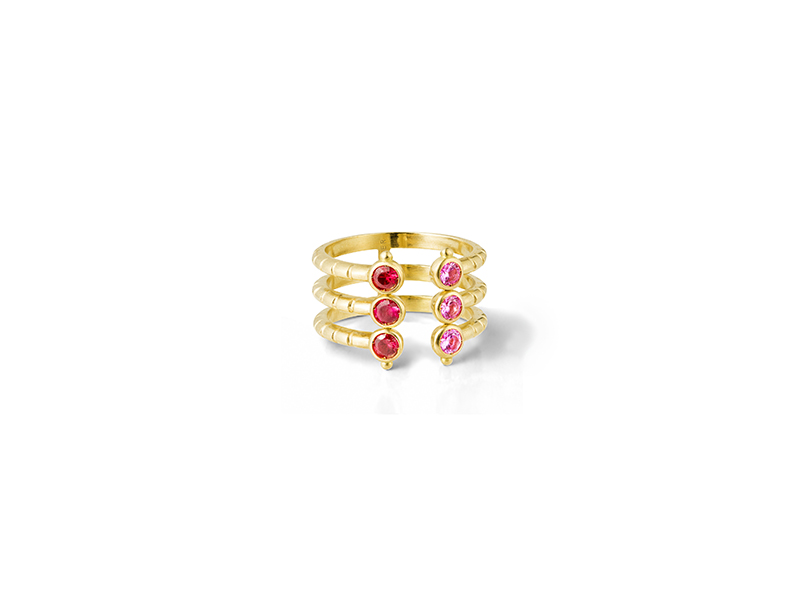 Aimee Aimer Folles iguazu triple ring mounted on yellow gold pink saphirs red spinelles