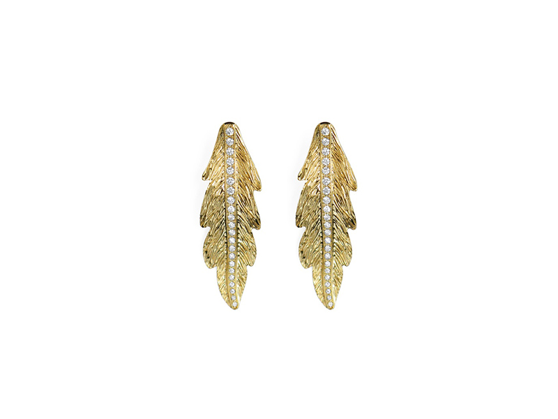 Alexandra Darier Olympe earrings mounted on yellow gold