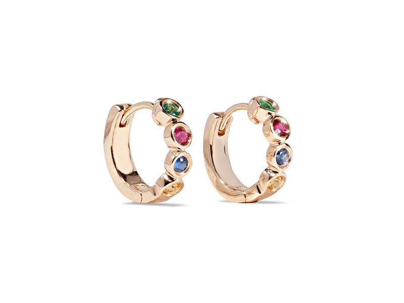 Alison Lou Hasbro Twister Huggies earrings mounted on rose gold with emeralds, rubies and sapphires - 1'133 €